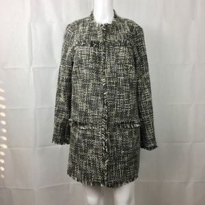 Chico's Tweed Long Jacket Wool Fringe Blazer M 8